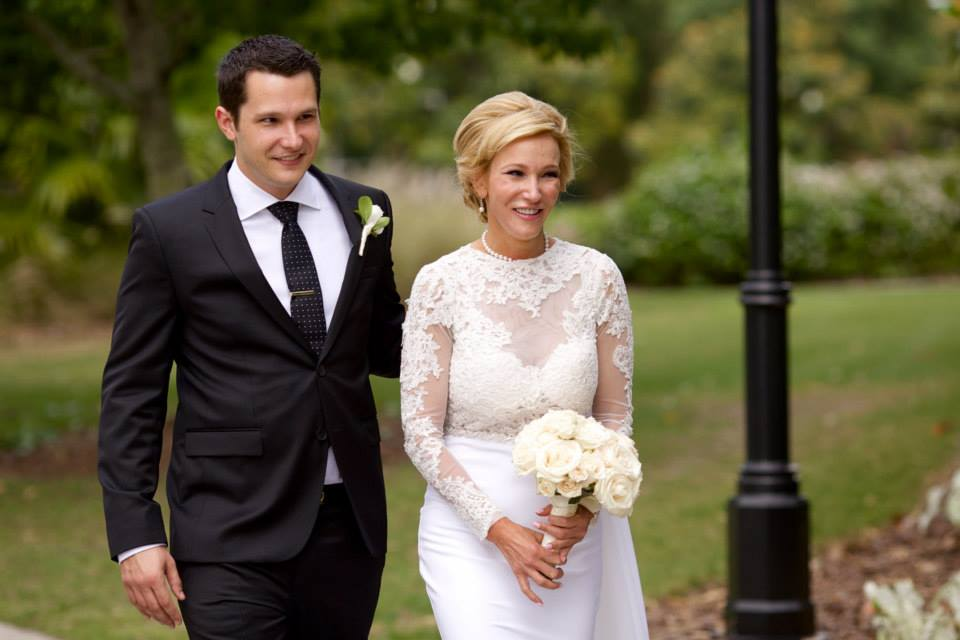 Walking down the aisle with her son, Bradley