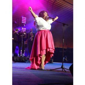 Kim at the Essence Festival performing a Tribute to Yolanda Adams